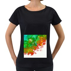 Digitally Painted Messy Paint Background Textur Women s Loose-Fit T-Shirt (Black) by Nexatart