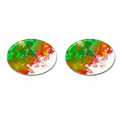 Digitally Painted Messy Paint Background Textur Cufflinks (oval)