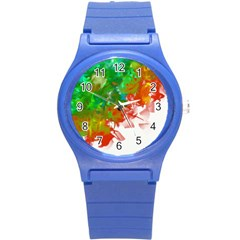 Digitally Painted Messy Paint Background Textur Round Plastic Sport Watch (s) by Nexatart