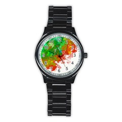Digitally Painted Messy Paint Background Textur Stainless Steel Round Watch by Nexatart