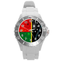 Snowflake Background Digitally Created Pattern Round Plastic Sport Watch (l) by Nexatart