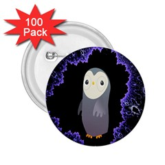 Fractal Image With Penguin Drawing 2 25  Buttons (100 Pack)