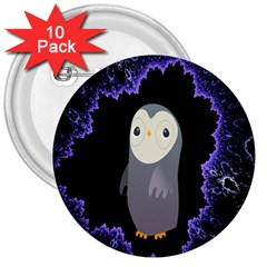 Fractal Image With Penguin Drawing 3  Buttons (10 Pack)