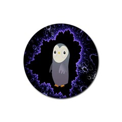 Fractal Image With Penguin Drawing Rubber Coaster (round)