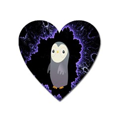 Fractal Image With Penguin Drawing Heart Magnet by Nexatart