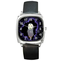 Fractal Image With Penguin Drawing Square Metal Watch