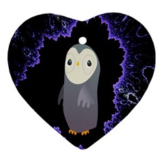 Fractal Image With Penguin Drawing Heart Ornament (two Sides) by Nexatart