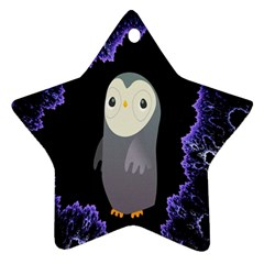 Fractal Image With Penguin Drawing Star Ornament (two Sides)