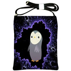 Fractal Image With Penguin Drawing Shoulder Sling Bags by Nexatart