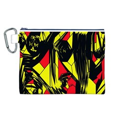Easy Colors Abstract Pattern Canvas Cosmetic Bag (l) by Nexatart