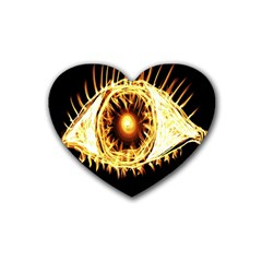 Flame Eye Burning Hot Eye Illustration Heart Coaster (4 Pack)  by Nexatart