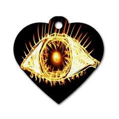Flame Eye Burning Hot Eye Illustration Dog Tag Heart (one Side) by Nexatart