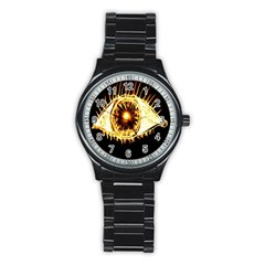 Flame Eye Burning Hot Eye Illustration Stainless Steel Round Watch