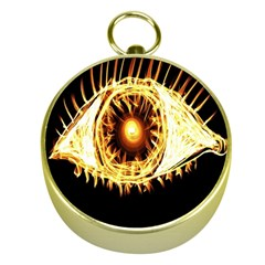Flame Eye Burning Hot Eye Illustration Gold Compasses