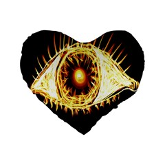 Flame Eye Burning Hot Eye Illustration Standard 16  Premium Flano Heart Shape Cushions by Nexatart