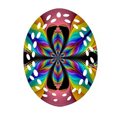 Fractal Butterfly Oval Filigree Ornament (two Sides) by Nexatart