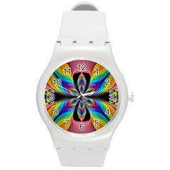 Fractal Butterfly Round Plastic Sport Watch (m)