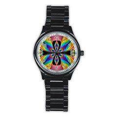 Fractal Butterfly Stainless Steel Round Watch