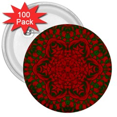 Christmas Kaleidoscope 3  Buttons (100 Pack)  by Nexatart
