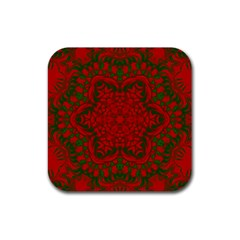 Christmas Kaleidoscope Rubber Square Coaster (4 Pack)  by Nexatart