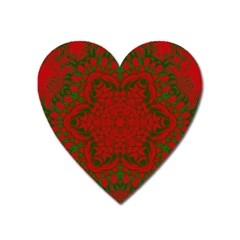 Christmas Kaleidoscope Heart Magnet by Nexatart
