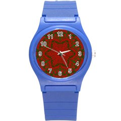 Christmas Kaleidoscope Round Plastic Sport Watch (s) by Nexatart