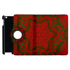 Christmas Kaleidoscope Apple Ipad 2 Flip 360 Case by Nexatart