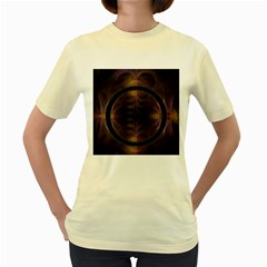Wallpaper With Fractal Black Ring Women s Yellow T Shirt