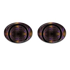 Wallpaper With Fractal Black Ring Cufflinks (oval)