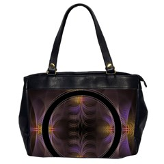 Wallpaper With Fractal Black Ring Office Handbags (2 Sides)  by Nexatart