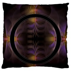 Wallpaper With Fractal Black Ring Large Cushion Case (two Sides) by Nexatart