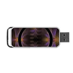 Wallpaper With Fractal Black Ring Portable Usb Flash (two Sides) by Nexatart