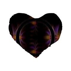 Wallpaper With Fractal Black Ring Standard 16  Premium Flano Heart Shape Cushions by Nexatart