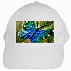 Blue Spotted Butterfly Art In Glass With White Spots White Cap by Nexatart
