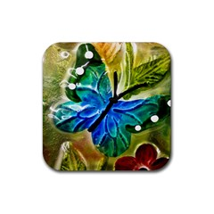 Blue Spotted Butterfly Art In Glass With White Spots Rubber Square Coaster (4 Pack)
