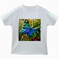 Blue Spotted Butterfly Art In Glass With White Spots Kids White T Shirts