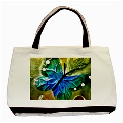 Blue Spotted Butterfly Art In Glass With White Spots Basic Tote Bag by Nexatart