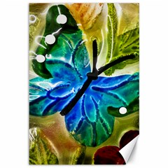 Blue Spotted Butterfly Art In Glass With White Spots Canvas 12  X 18