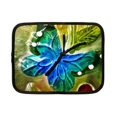 Blue Spotted Butterfly Art In Glass With White Spots Netbook Case (small)  by Nexatart