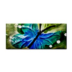 Blue Spotted Butterfly Art In Glass With White Spots Cosmetic Storage Cases