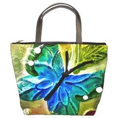Blue Spotted Butterfly Art In Glass With White Spots Bucket Bags