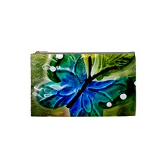 Blue Spotted Butterfly Art In Glass With White Spots Cosmetic Bag (small)  by Nexatart