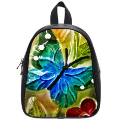 Blue Spotted Butterfly Art In Glass With White Spots School Bags (small)