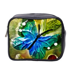 Blue Spotted Butterfly Art In Glass With White Spots Mini Toiletries Bag 2 Side by Nexatart