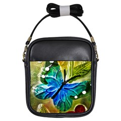 Blue Spotted Butterfly Art In Glass With White Spots Girls Sling Bags by Nexatart