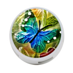 Blue Spotted Butterfly Art In Glass With White Spots 4 Port Usb Hub (one Side)