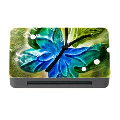 Blue Spotted Butterfly Art In Glass With White Spots Memory Card Reader With Cf by Nexatart