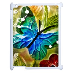 Blue Spotted Butterfly Art In Glass With White Spots Apple Ipad 2 Case (white) by Nexatart