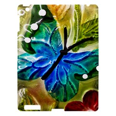 Blue Spotted Butterfly Art In Glass With White Spots Apple Ipad 3/4 Hardshell Case