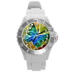 Blue Spotted Butterfly Art In Glass With White Spots Round Plastic Sport Watch (l) by Nexatart